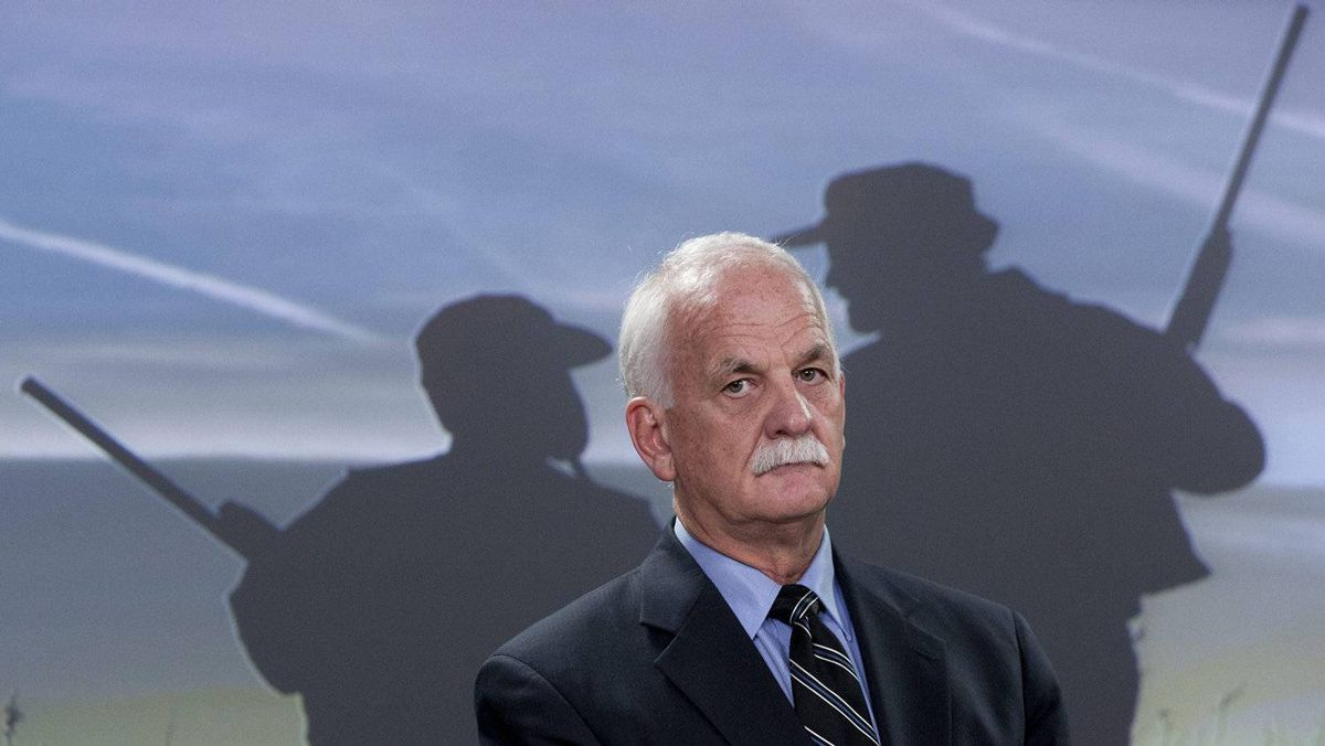 Minister of Public Safety Vic Toews talks about the gun registry during a news conference in Ottawa, Feb. 15, 2012.