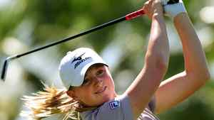 Stacy Lewis of the US, tees off at the 8th hole during the final round the LPGA Kraft Nabisco Championship, at the Mission Hills Country Club in Palm Springs, California on April 3, 2011. Getty Images/Mark RALSTON