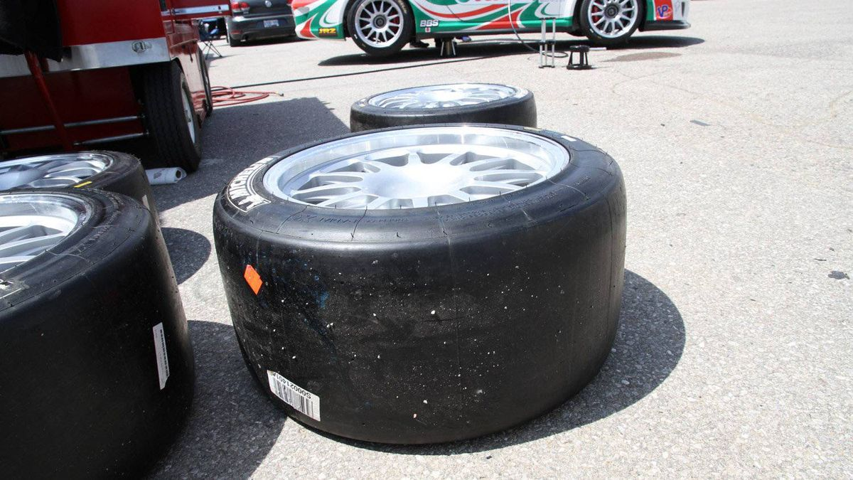 GT3 Cup cars use specially-made Michelin tires designed for the race series. Each team is allowed only two types of tire - an untreaded slick (shown here) that's used to maximize traction in dry conditions, and a grooved rain tire.