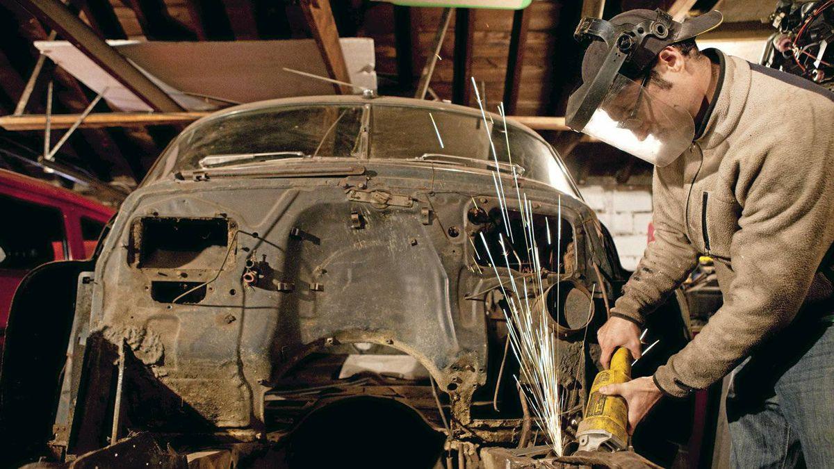 Luke Zentil in his workshop.