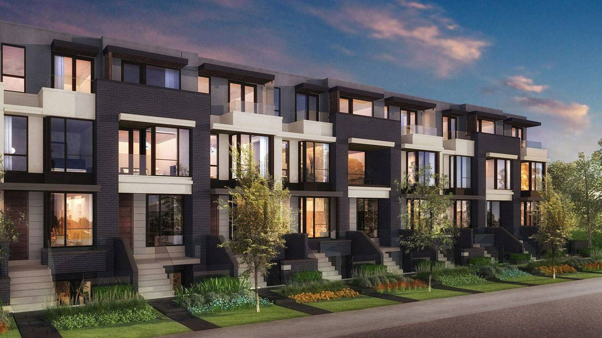 Block, rendering showing connected townhouses.