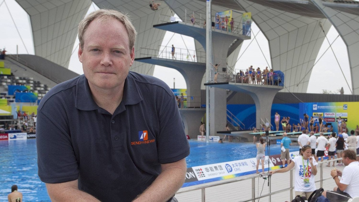 SendtoNews founder Keith Wells at FINA World Championships in Shanghai, China