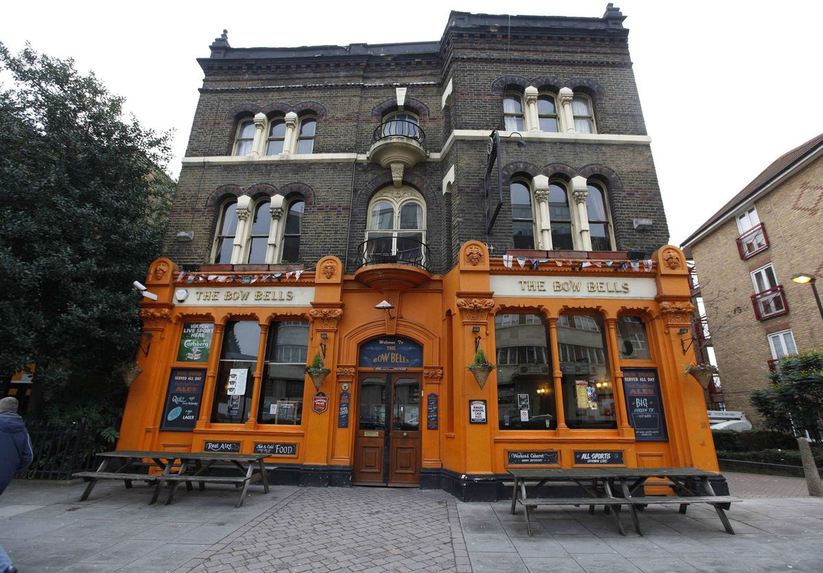 The Bow Bells pub is seen in east London. You were deemed to be a true Londoner if you were born within the sound of the bells of St Mary-le-Bow church, known as the Bow Bells.