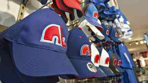Nordiques ballcaps are lined up on display at a sporting goods shop in Quebec City on Feb. 10, 2011.