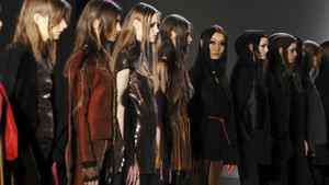 Models poses at the Odilon Fall 2011 presentation during Mercedes-Benz Fashion Week at Metropolitan Pavilion on February 14, 2011 in New York City.