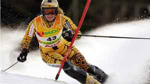 Canada's Anna Goodman slaloms at the World Alpine Ski Championships in Santa Caterina Valfurva, Italy on Feb. 11, 2005.
