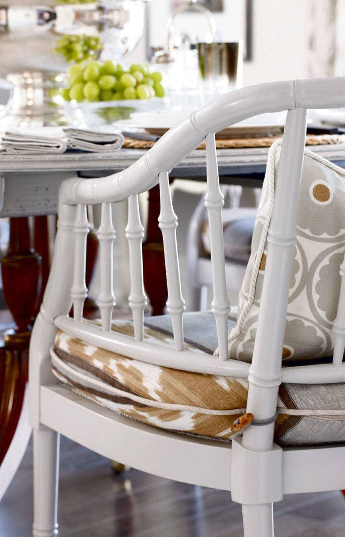 USE FABRIC Chairs are far more welcoming when dressed with seat and back cushions. As long as you pre-wash your fabrics to avoid shrinkage and use removable covers with zipper closures, the sins of sticky fingers and messy eaters can be erased with a quick spin cycle.