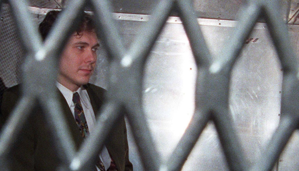 Paul Bernardo arrives at the provincial courthouse in Toronto, Nov.3, 1995. The serial rapist was sent to Kingston after getting two life sentences for torturing, raping and murdering Kristen French, 15, and Leslie Mahaffy, 14. He is locked in a 2.5-by-3-metre cell and is only allowed outside to exercise alone for one hour a day.