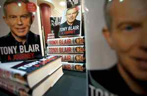 """Copies of former British Prime Minister Tony Blair's memoirs, """"A Journey"""" are displayed as the book goes on sale for the first time in book stores in London, on September 1, 2010."""