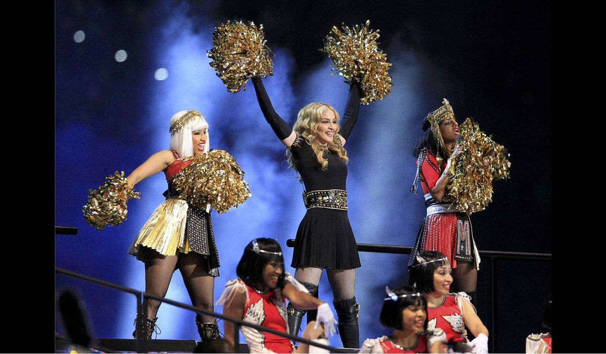 Madonna performs during the halftime show at the NFL Super Bowl XLVI.