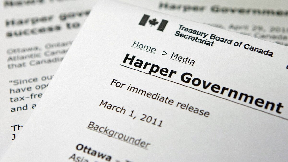 A Treasurey Board press release that uses the Harper Government headline instead of the traditional Government of Canada moniker.