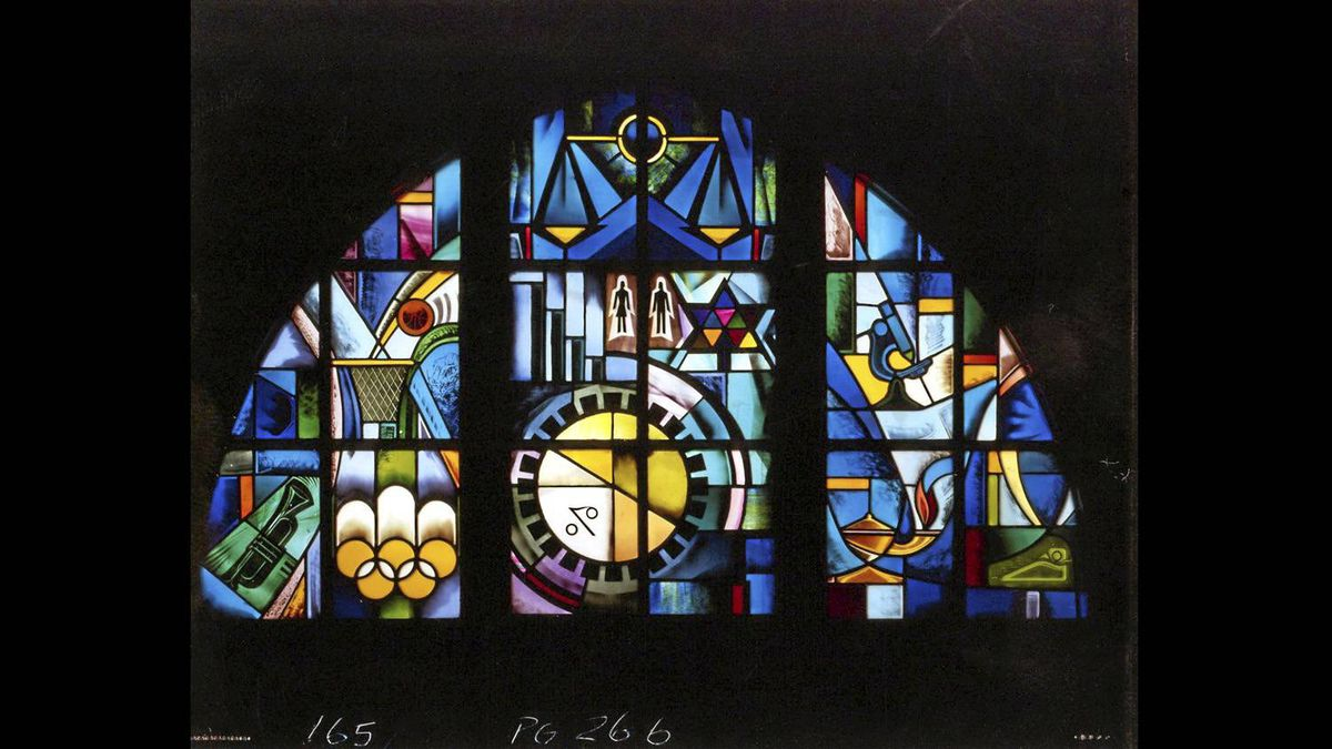 Student Project, Eastern High School of Commerce (stained glass window), Art for Enlightenment, p.266