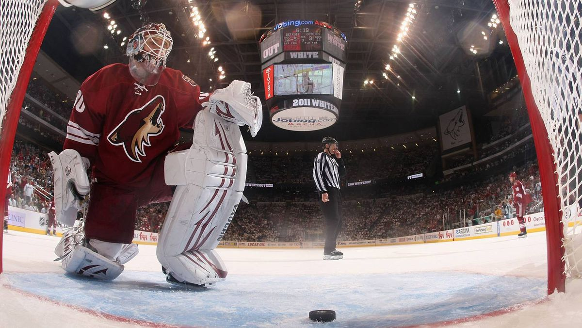 Goaltender Ilya Bryzgalov of the Phoenix Coyotes reacts after allowing a third period goal to Danny Cleary of the Detroit Red Wings.