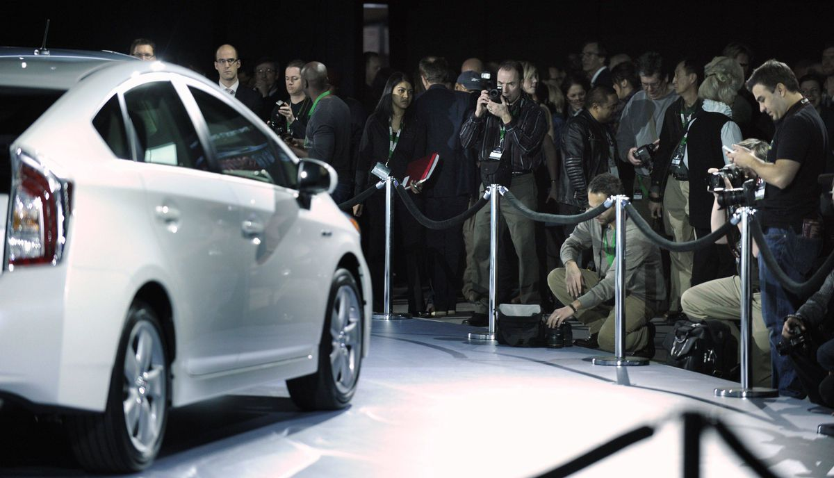 Toyota hybrid vehicle is introduced during Toyota's press conference at the media preview of the Canadian International Auto Show in Toronto.