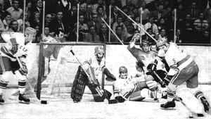 Team Canada battles the Soviet Union in the second game of the 1972 Summit Series.
