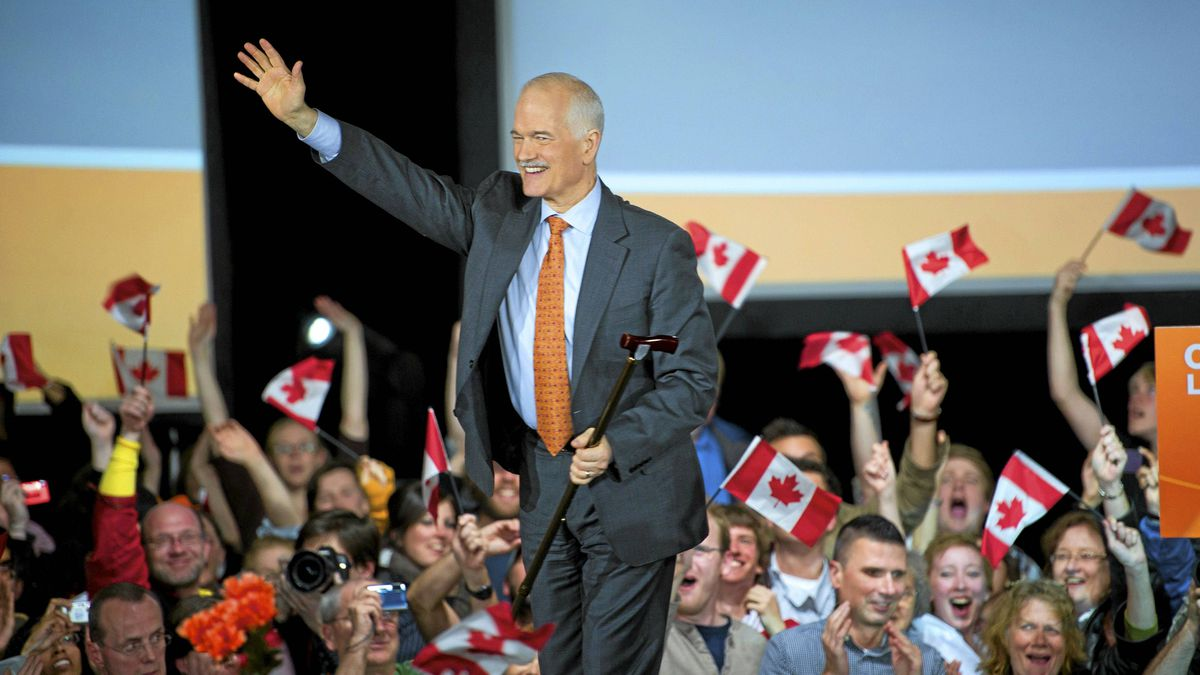 NDP leader Jack Layton greets supporters at his election night headquarters in Toronto on May 2.