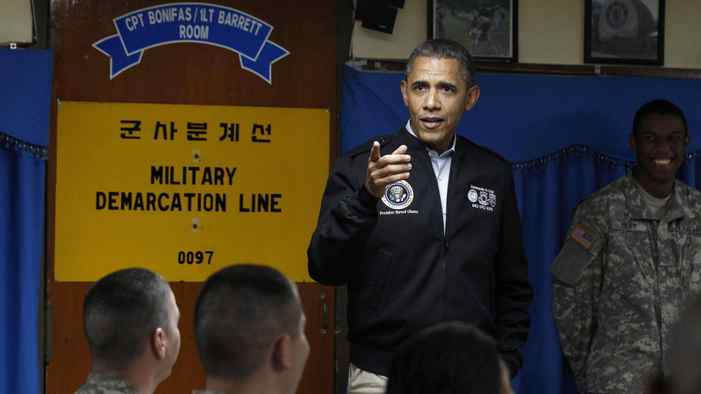 U.S. President Barack Obama visits U.S. military personnel at Camp Bonifas, along the Korean demilitarized zone, on Saturday.