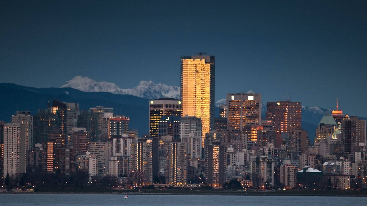 The Vancouver skyline at sunset. January 20, 2010.