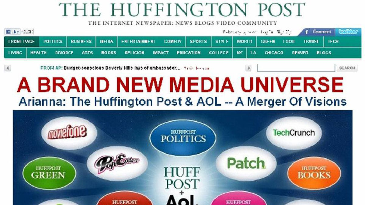 The announcement of AOL Inc acquiring The Huffington Post is seen on a screen shot of The Huffington Post website taken February 7, 2011.