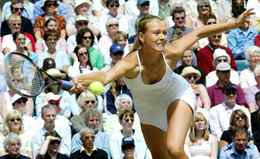 Hot on the heels of countrywoman Anna Kournikova, 17-year-old Maria Sharapova showed she was more than just a pretty face at Wimbledon in 2004. After coming from behind to beat Lindsay Davenport in her first ever grand slam semi-final, the 13th seed stunned world No. 1 and defending champion Serena Williams in the final to become the third youngest Wimbledon winner.
