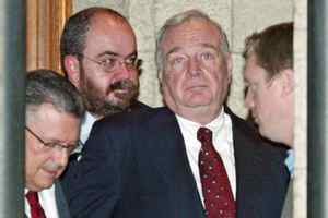 With finance minister Ralph Goodale, commnications director Mario Lague and policy advisor Scott Reid looking on, then-prime minister Paul Martin waits to address reporters after a cabinet meeting on Thursday, May 6, 2004.