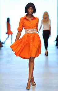 ORANGE Already hot this fall, the juicy hue cropped up again for spring at Pink Tartan (pictured) and Arthur Mendonça, among others.