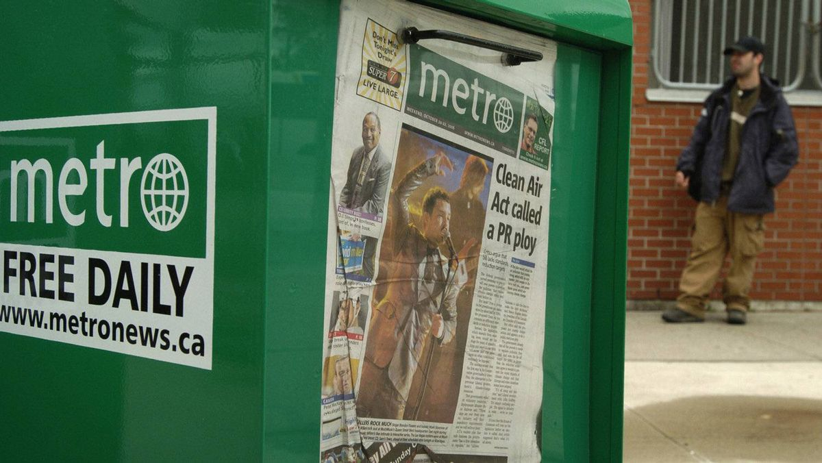 Metro newspaper boxes photographed at the Oakville GoTrain Station in Oakville, Ont.
