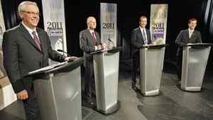 NDP Leader Greg Selinger, left, Liberal Leader Jon Gerrard, PC Leader Hugh McFadyen and Green Party Leader James Beddome of Manitoba prior to a televised debate on Sept. 23, 2011, in Winnipeg.