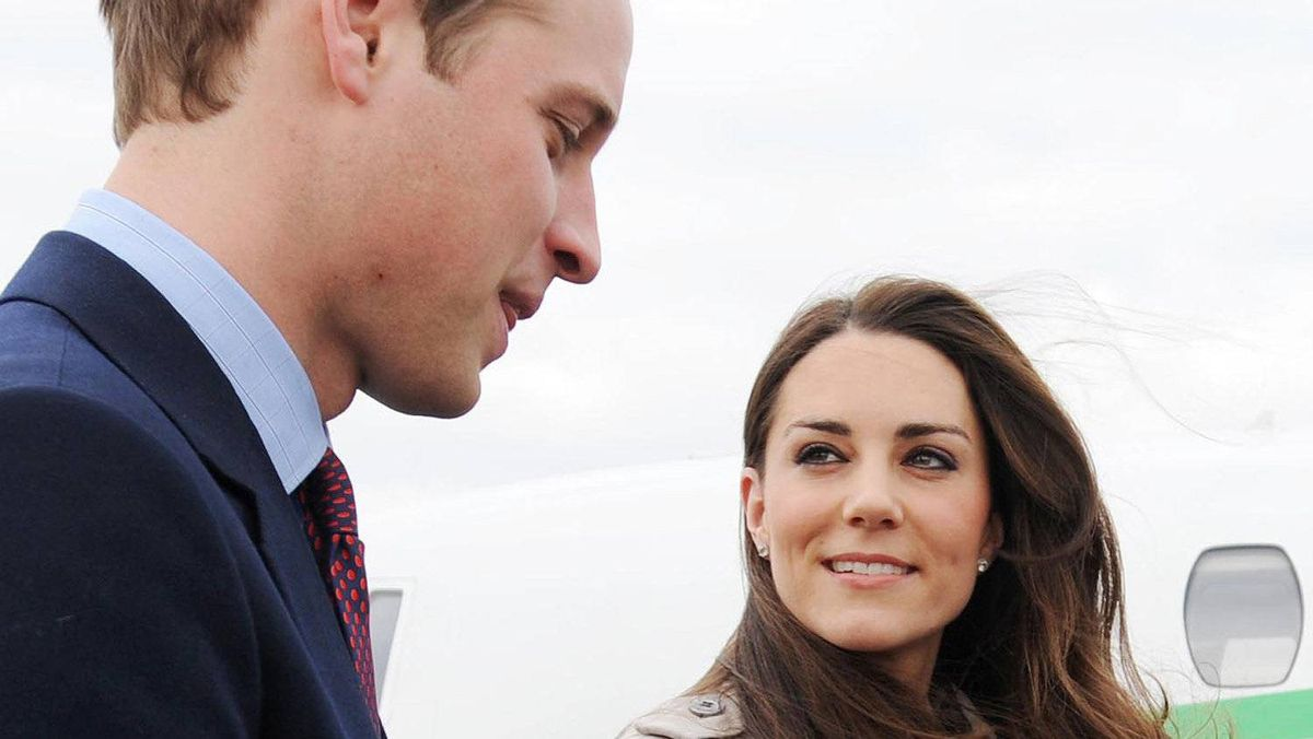 Britain's Prince William and his bride-to-be Kate Middleton arrive at George Best Belfast City Airport for a a one-day visit to Northern Ireland, on March 8, 2011. It was the couple's first official visit to Northern Ireland, and they were greeted enthusiastically by a small crowd who had gathered in the grounds of City Hall for a glimpse of the royal pair.