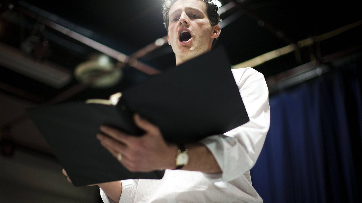 Ken Lavigne, who plays USMC Lance Corporal Philip Houston, performs his part while workshopping a new opera about Iraq at the Carnegie Centre in Vancouver, Nov. 14, 2011.