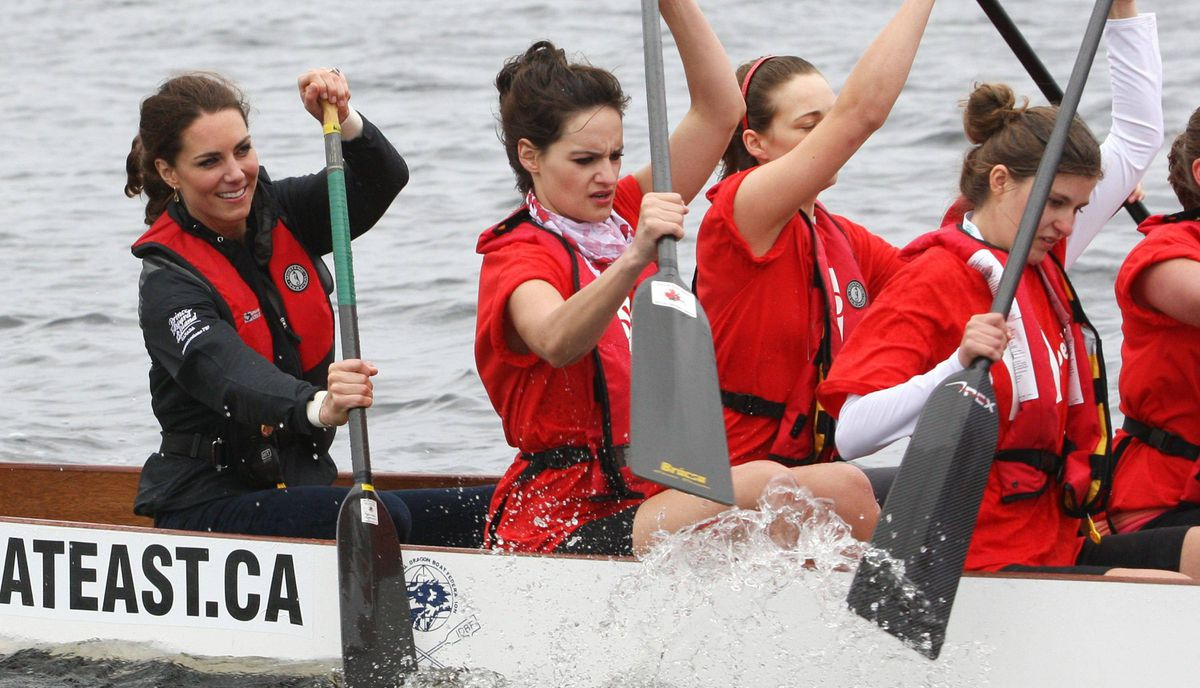The Duchess of Cambridge (left) takes part in a dragon boat race in Dalvay Lake, P.E.I. Monday, July 4, 2011. Her husband the Duke of Cambridge was on a competing boat.