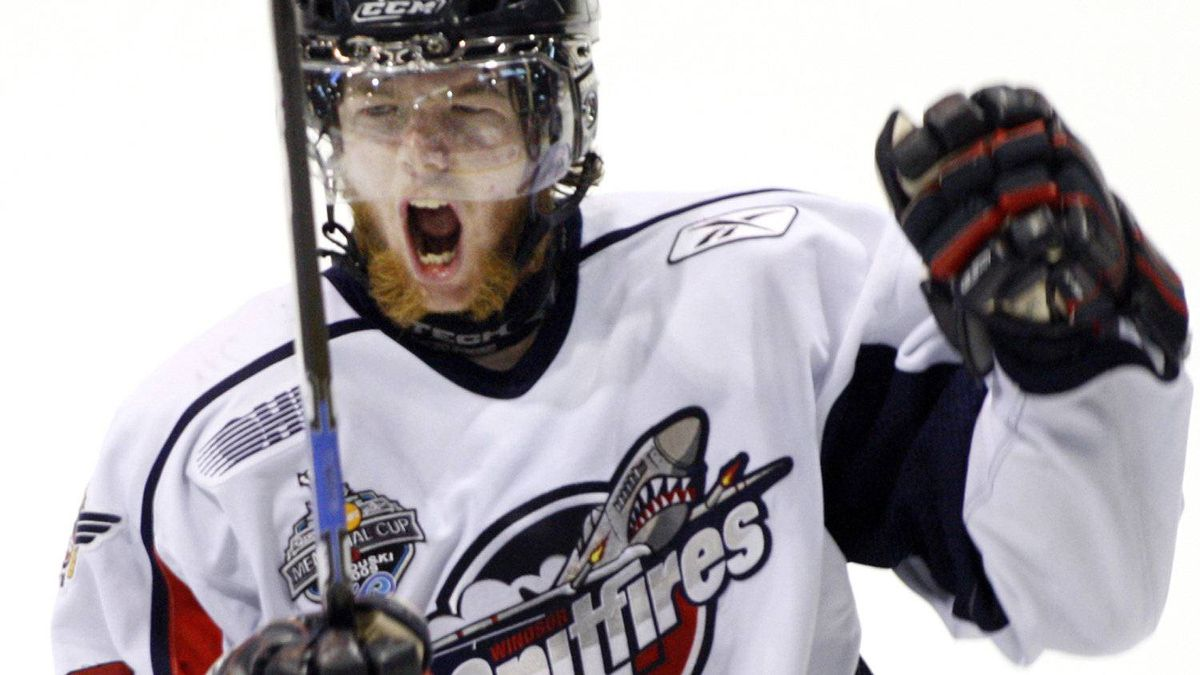 Windsor Spitfires Ryan Ellis celebrates after scoring the fourth goal against the Kelowna Rockets during second period Memorial Cup final hockey action in Rimouski Que. Sunday May 24, 2009. THE CANADIAN PRESS/Ryan Remiorz