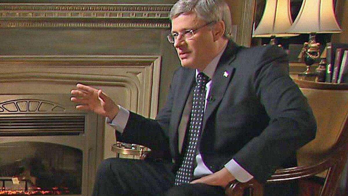 Prime Minister Stephen Harper speaks during an interview with CBC's The National broadcast on Jan.17, 2011.