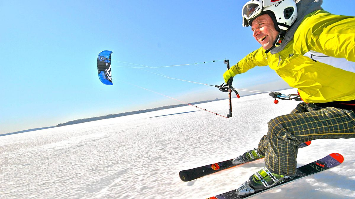 Kite Skiing in Quebec's Parc National d'Oka.
