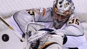 Nashville Predators goaltender Pekka Rinne, of Finland, makes a save during the first period. THE CANADIAN PRESS/Jonathan Hayward