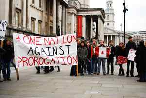 Canadian expatriates gather in London's Trafalgar Square on Saturday, Jan. 25, 2010, to protest against Prime Minister Stephen Harper's decision to prorogue Parliament.