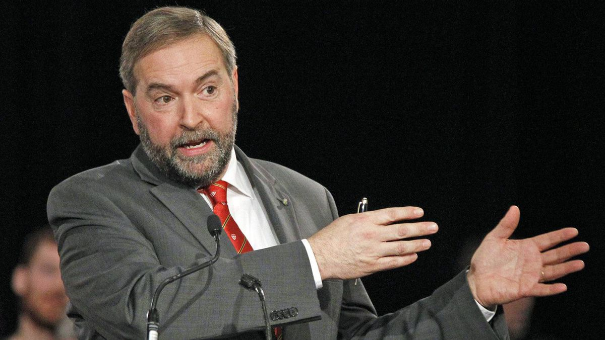 Quebec MP Thomas Mulcair speaks during the NDP leadership debate in Ottawa on Dec. 4, 2011.