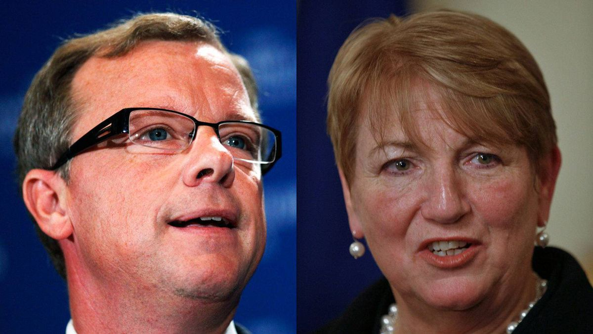 Saskatchewan Brad Wall and Kathy Dunderdale, who took over from Danny Williams in Newfoundland and Labrador, are shown in a photo combination.