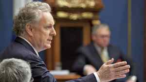 Quebec Premier Jean Charest responds to Opposition questions on the conflict with students over tuition hikes on May 2, 2012, at the legislature in Quebec City.