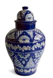 Emilia Ceramics' Cristina Tibor jar is a boldly patterned Mexican-style container that can double - sans lid - as a vase. $16 (U.S.) through www.emiliaceramics.com.