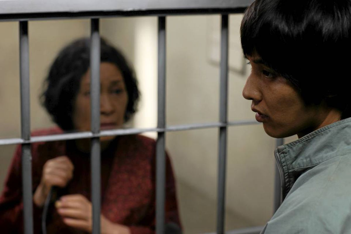 In Mother, the title character (Kim Hye-Ja, left) tries to proves the innocence of her son Yoon Do-Joon (Won Bin), who has been charged with murder.