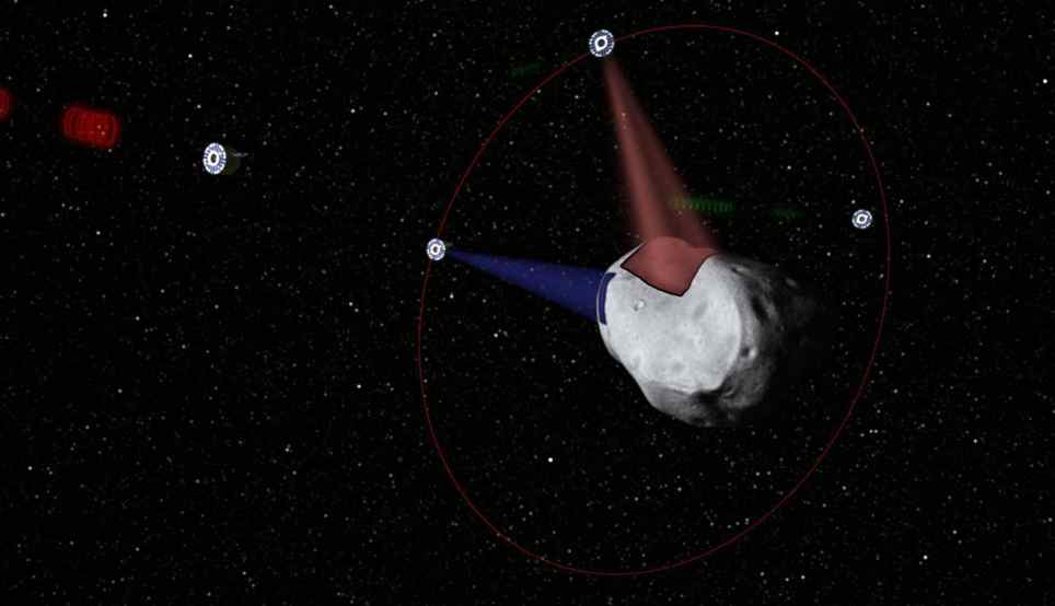 This computer-generated image provided by Planetary Resources, a group of high-tech tycoons that wants to mine nearby asteroids, shows a conceptual rendering of satellites prospecting a water-rich, near-Earth asteroid. The group's mega-million dollar plan is to use commercially built robotic ships to squeeze rocket fuel and valuable minerals like platinum and gold out of the lifeless rocks that routinely whiz by Earth.