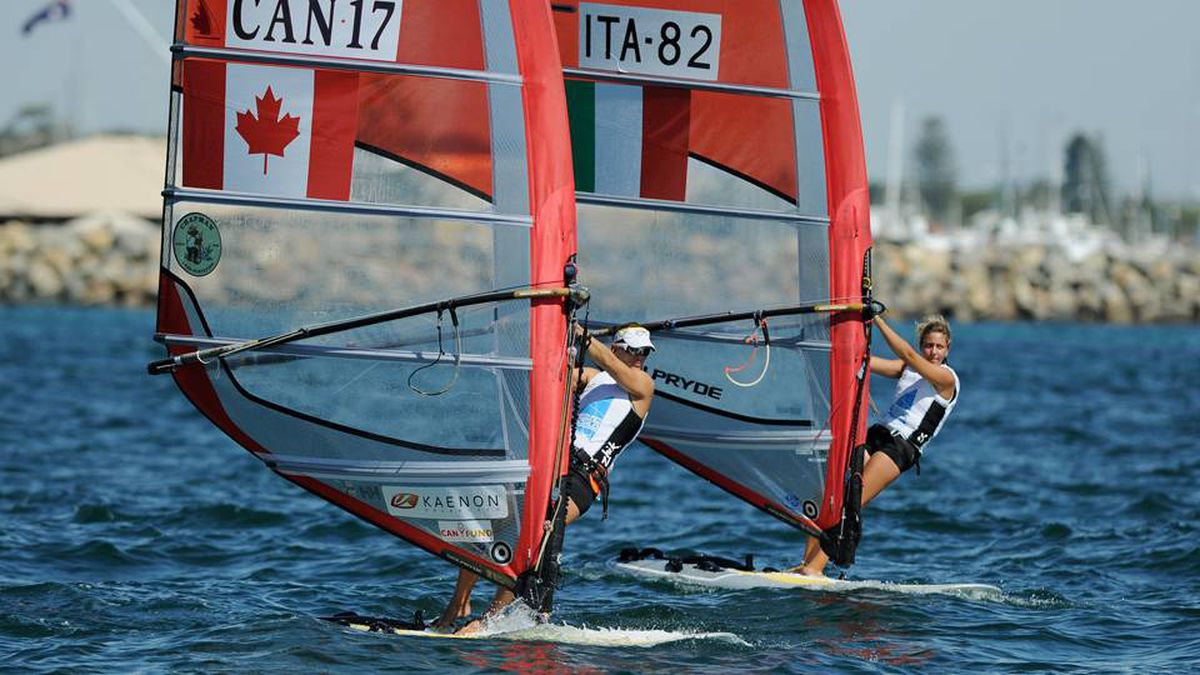 Nikola Girke of Canada and Veronica Fanciulli of Italy compete in the RS:X Women's Windsurfer event at the ISAF World Sailing Championships off Fremantle.