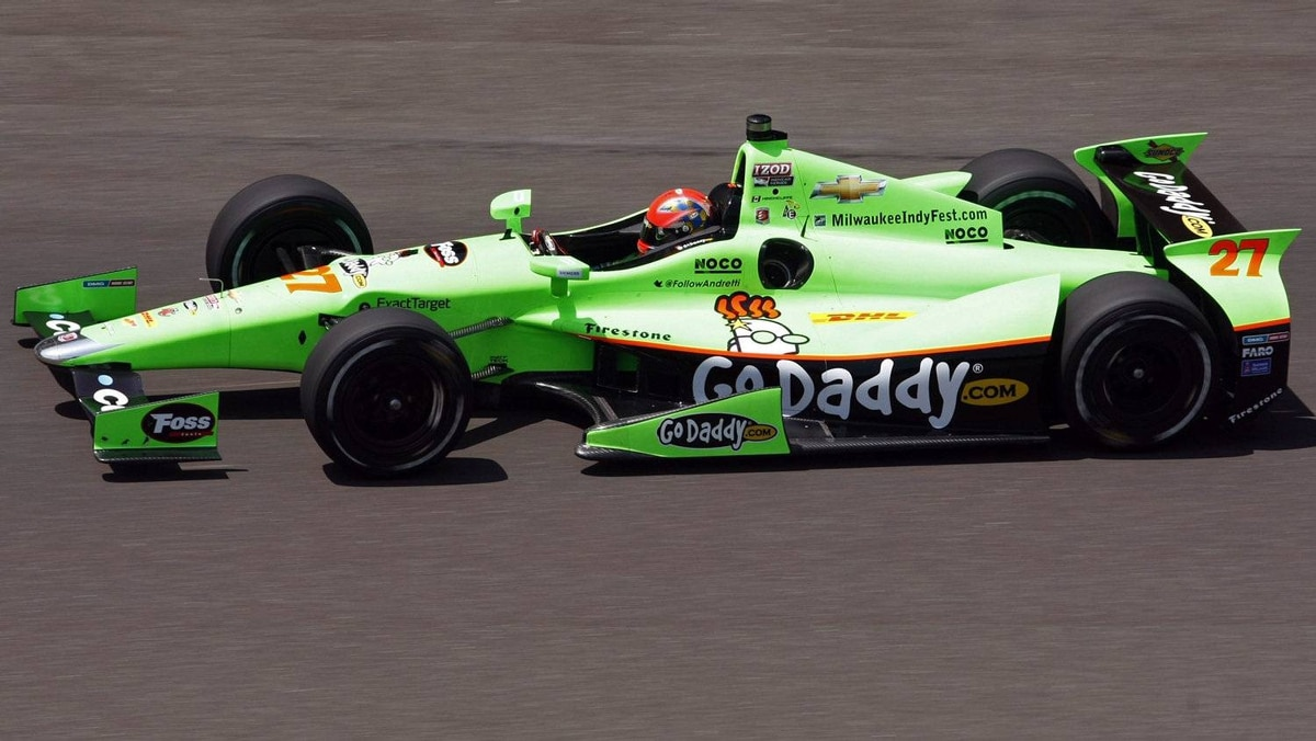 James Hinchcliffe of Canada drives laps during practice time at the Indianapolis Motor Speedway.