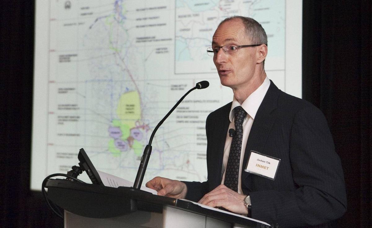 Inmet CEO Jochen Tilk speaks at the shareholders meeting in Toronto on April 27, 2010.