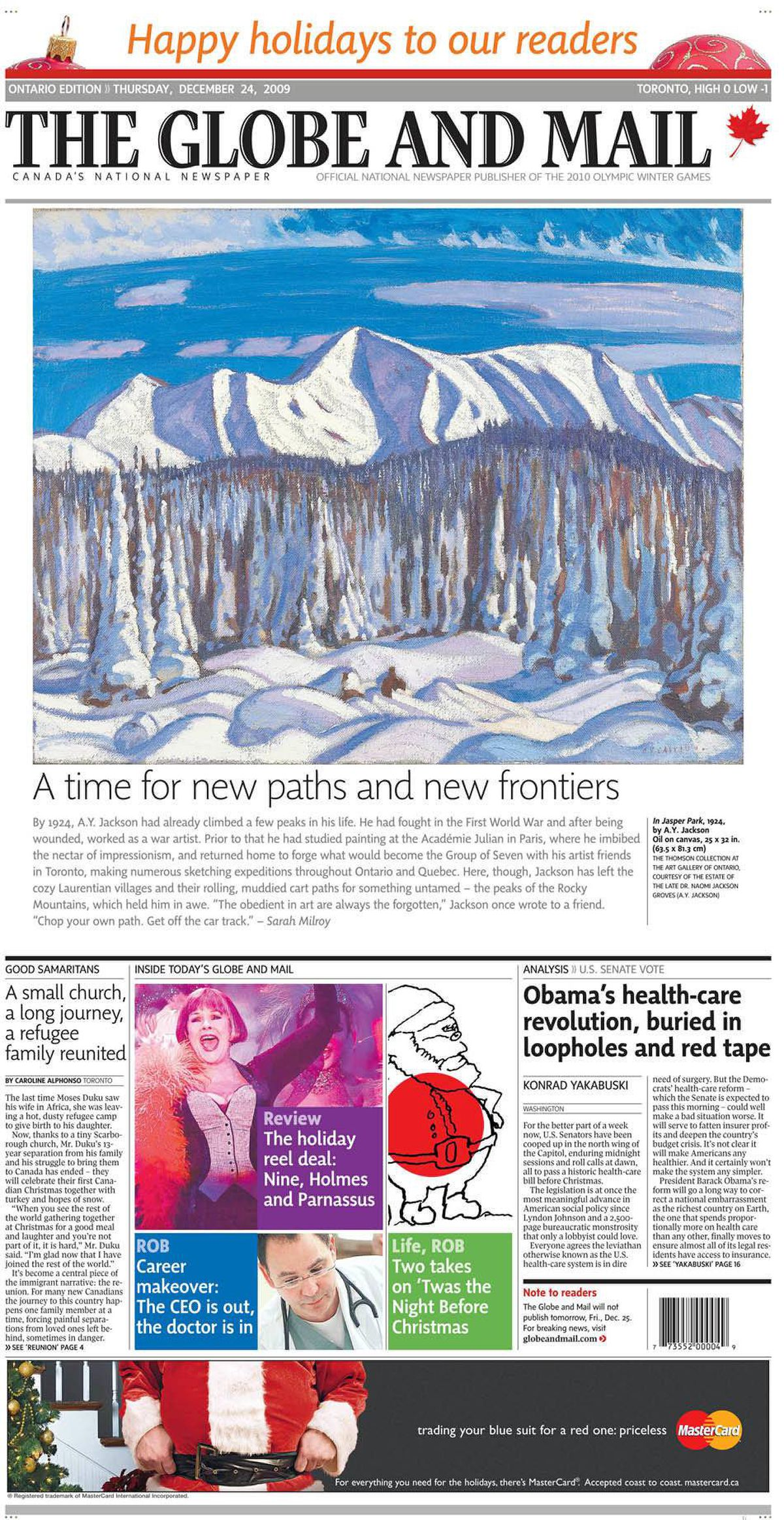 Cover of The Globe and Mail, Dec. 24, 2009