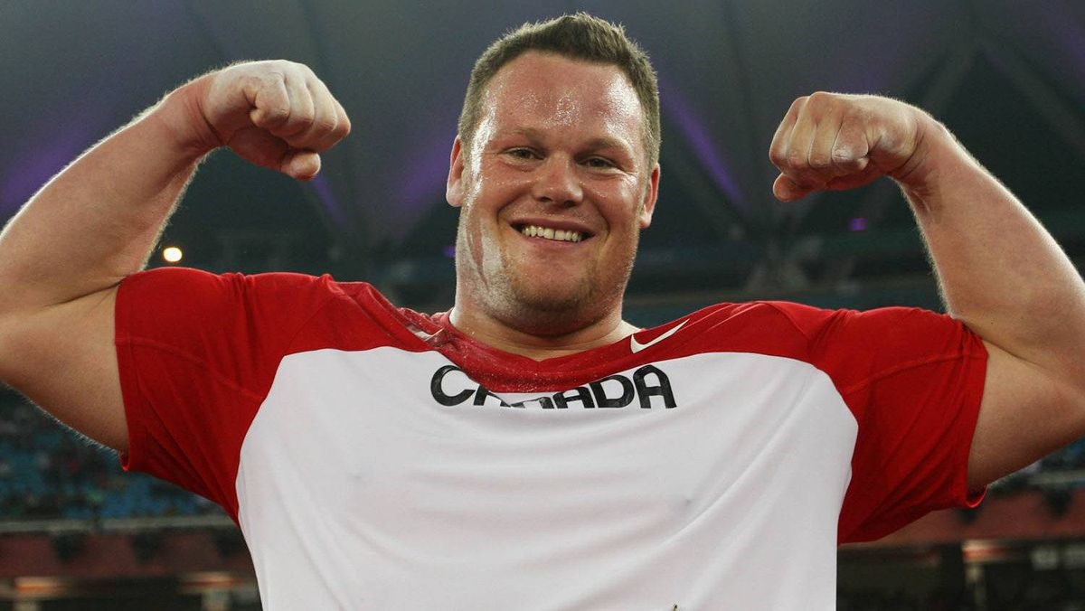 Dylan Armstrong of Canada celebrates after the men's shot put final at the Jawaharlal Nehru Stadium during day four of the Delhi 2010 Commonwealth Games on October 7, 2010 in Delhi, India. (Photo by Michael Steele/Getty Images)