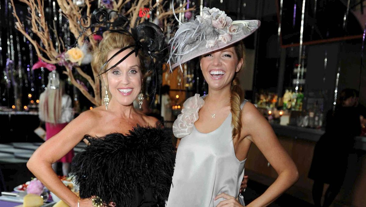 Kara Alloway (left) and Ainsley Kerr at the Fascinator Frenzy fundraiser held May 30 at the Le Germain hotel in Toronto. The event raised money for the New Haven Learning Centre for Autism.