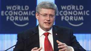 Canada's Prime Minister Stephen Harper addresses a session at the World Economic Forum (WEF) in Davos, January 26, 2012.