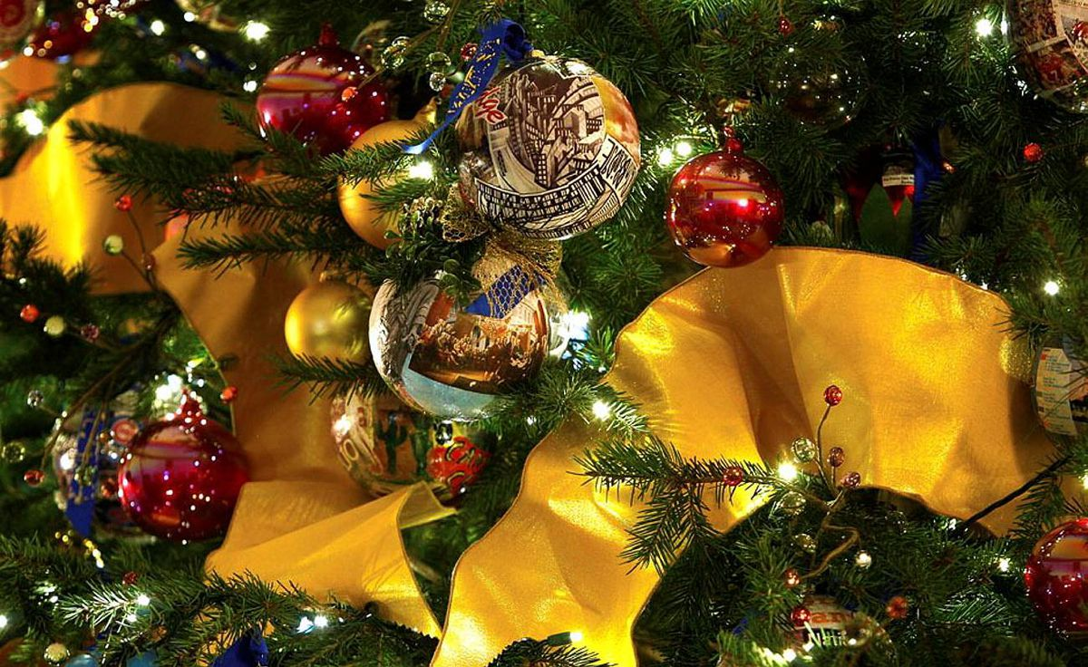 Ornaments are hung on the official White House Christmas tree.